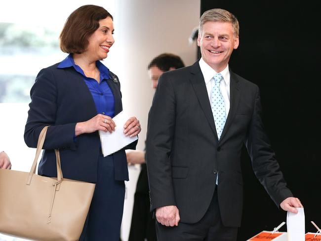 Prime Minister Bill English and wife Dr Mary English cast their votes for the 2017 General Election at Asteron Tower in Wellington. Picture: Getty