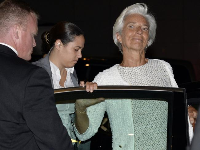 International Monetary Fund, IMF, Managing Director Christine Lagarde leaves a Eurogroup meeting discussing the Greek crisis in Brussels. Pic: Thierry Charlier