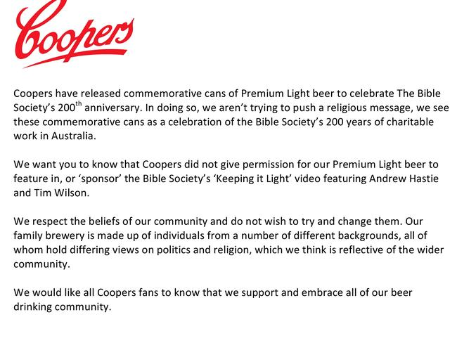 The statement released by Coopers. Picture: Facebook