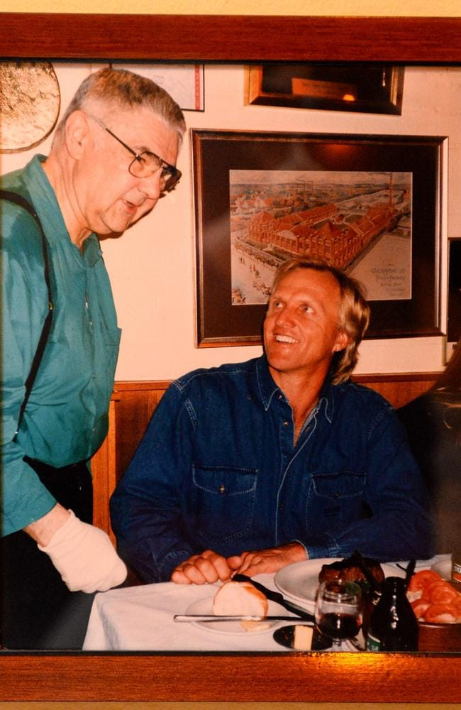 "This picture of Vlado and Greg Norman adorns the restaurant's ""hall of fame"" wall. Picture: Kylie Else"