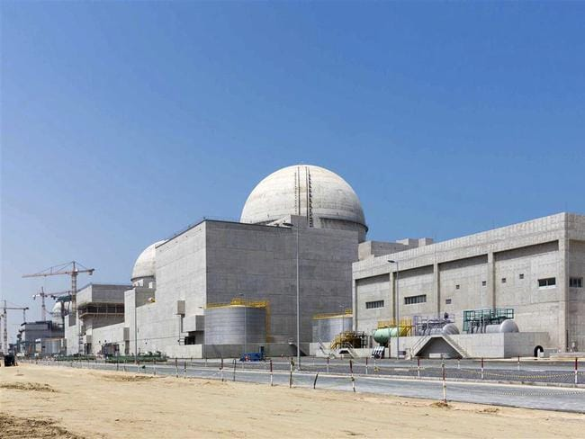 The under-construction Barakah nuclear power plant in Abu Dhabi's Western desert. The UAE on Sunday denied a claim by Yemen's Shiite rebels that a rebel-fired missile targeted the plant. Picture: AP