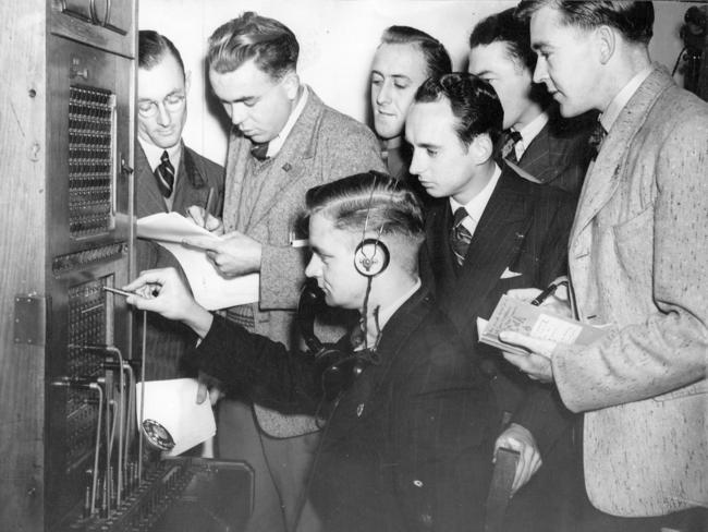 "1946: Around 40 ex-servicemen training to be ""Hello men"" at the Central Telephone Exchange in Melbourne. Picture: State Library of Victoria/ Argus collection"