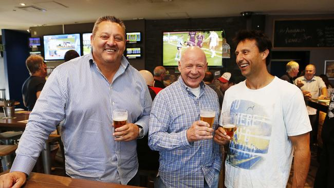 NSW legends Steve Roach, Bob Fulton and series winning coach Laurie Daley celebrate at the Northbridge Hotel.