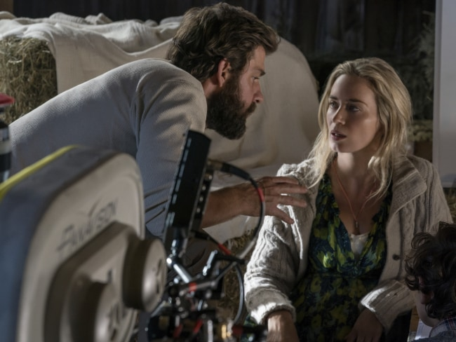 John Krasinski on the set of 'A Quiet Place' with his actress wife Emily Blunt. Photo: Jonny Cournoyer/Paramount Pictures