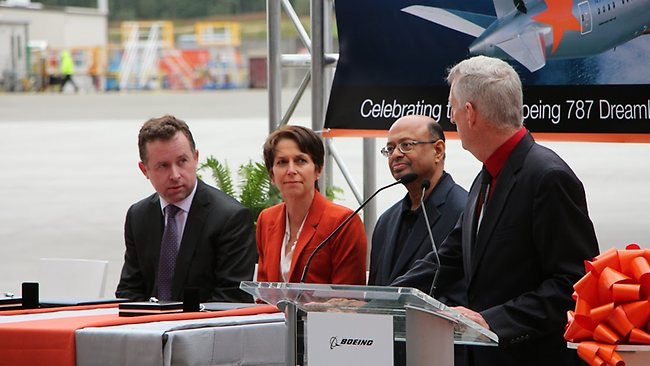 Qantas Group CEO Alan Joyce and Jetstar CEO Jayne Hrdlicka at the Dreamliner delivery ceremony in Seattle. Picture: Sarah Nicholson