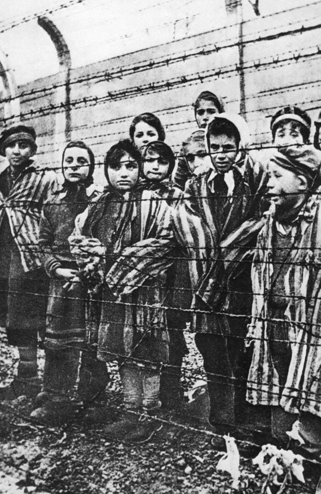 Auschwitz concentration camp children photographed by Russians who liberated the camp in January 1945. Picture: Pictorial Press / Alamy