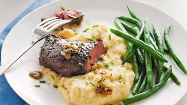 Pepper steak with soft parmesan polenta taking the place of the usual mashed potato.