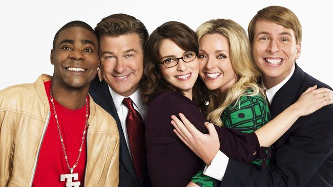 Tracy Morgan with fellow 30 Rock cast members Alec Baldwin, Tina Fey, Jane Krakowski and Jack McBrayer.