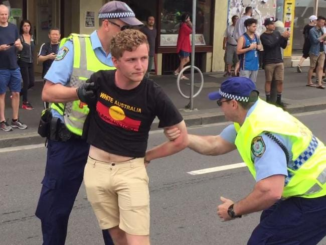 A man is arrested on January 26, 2017 during an Australia Day protest. Picture: Supplied