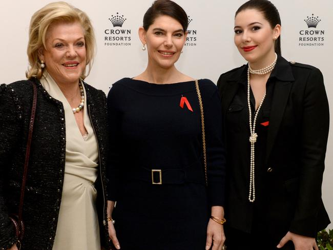 Ros Packer, Gretel Packer and Francesca Packer at Crown in Melbourne, announcing the $200 million the family is giving to further Australia's arts. Picture: Kylie Else