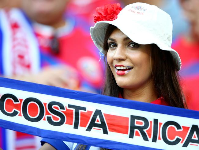 A Costa Rica fan enjoys the atmosphere during the 2014 FIFA World Cup Brazil Round of 16 match between Costa Rica and Greece at Arena Pernambuco.