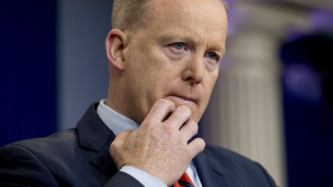 "White House press secretary Sean Spicer caused outrage after comparing Bashar Assad with Adolf Hitler, saying Hitler ""didn't gas his own people."" Picture: AP."