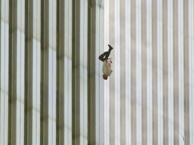 "This picture taken by Associated Press photographer Richard drew was deemed too controversial by most newspaper editors. ""The Falling Man"" became the subject of a documentary, but the identity of the man plummeting to his death is still disputed. Some families refuse to believe it could be their relative for religious reasons, even though no 9/11 victim has been classified as dying by suicide."