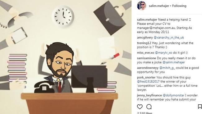 Salim Mehajer's first Instagram call-out for a new employee. Picture: Instagram