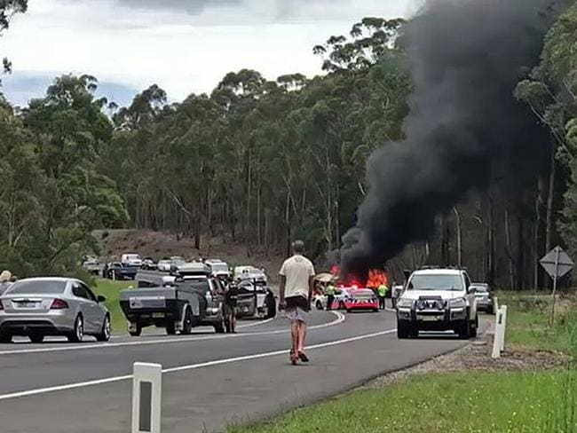 The tragic crash at Mondayong between Sussex Inlet and Bendalong. Picture: Seven News Sydney