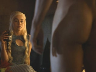 Daenerys getting an eyeful of Daario Naharis. Photo: HBO