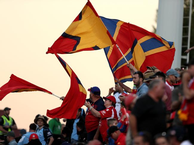 Adelaide United fans show their colours.
