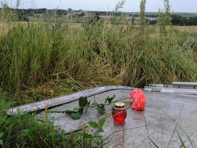 Gone but not forgotten ... a candle and a rose are placed on a piece of debris at the site of the crash of the Malaysian airliner. Picture: Dominque Faget
