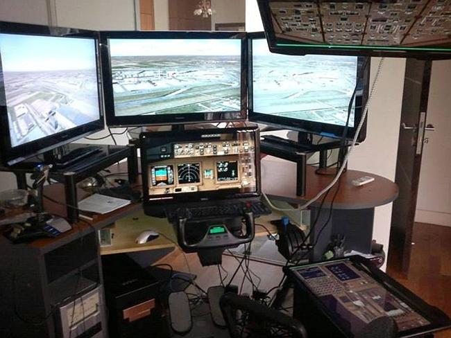 Captain Shah's personal flight simulator.