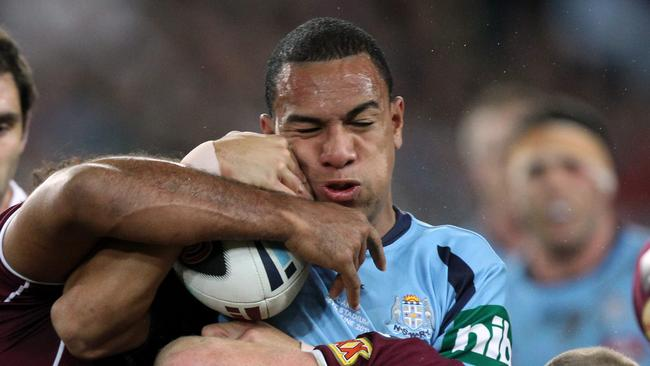 Will Hopoate tackled during his Origin debut.