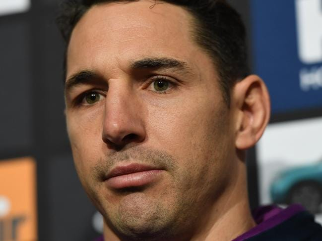 Billy Slater of the Melbourne Storm speaks to the media at AAMI Park in Melbourne, Tuesday, September 19, 2017. Melbourne Strom play the Brisbane Broncos in a preliminary final on Friday night. (AAP Image/Julian Smith) NO ARCHIVING