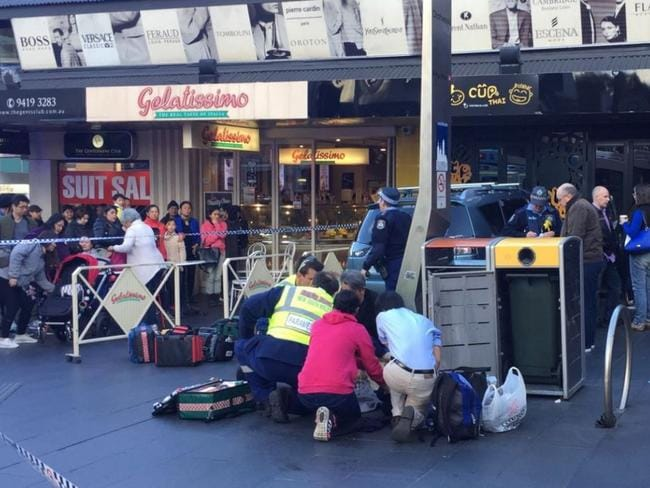 The scene of the accident at Chatswood, where five pedestrians were injured. Picture: Seven News