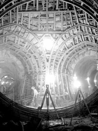 Constructing the Snowy River tunnel in the 1950s. Picture: supplied