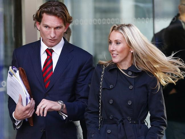 Essendon coach James Hird and wife Tania leave the Federal Court. Picture: Michael Klein