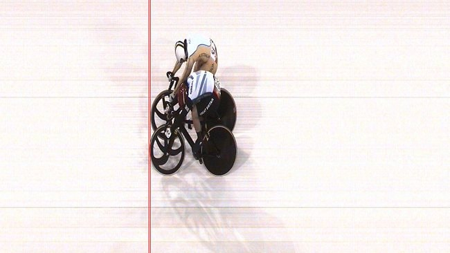 Victoria Pendleton edges out Anna Meares in the first heat, but the Brit was later disqualified for obstruction. Picture: Omega