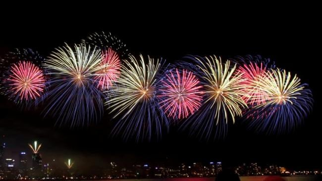 PERTH CELEBRATES: Fireworks from the South Perth foreshore on Australia      Day. Picture: <b>Bohdan Warchomij</b>