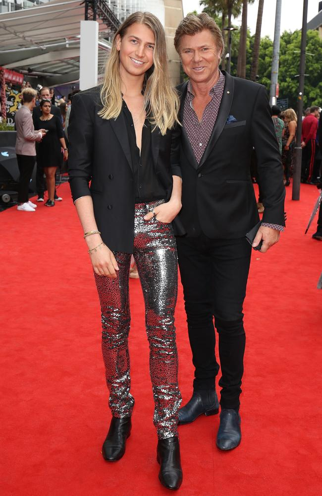 Richard Wilkins and his son arrive at the ARIAs.