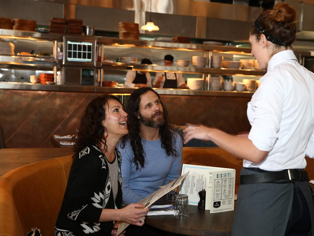 The new restaurant's first customers Trish Barletta and Tim Vakitsidis. Picture: Mike Burton