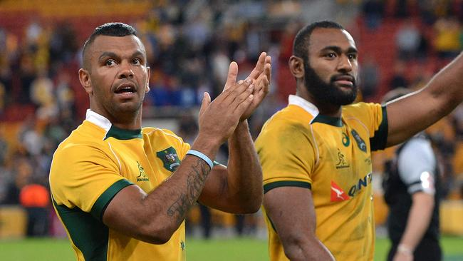 Kurtley Beale (L) came off the bench and scored a try in the second half.