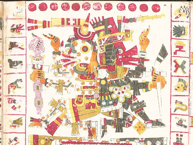 Page 56 of the Codex Borgia is one of the very few depictions of the ancient Central-Mexican god of death, Mictlantecuhtli.