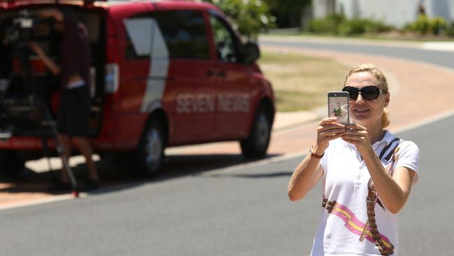 Clive Palmer's wife Anna photographs media. (Photo: Lyndon Mechielsen/The Australian)