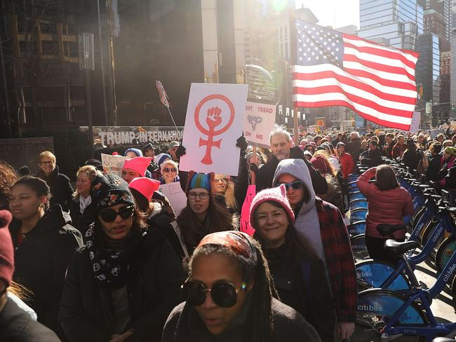 Thousands hold signs and rally while attending the Women's March on January 20, 2018 in New York. Picture: Getty