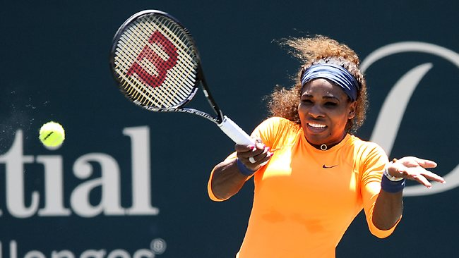 Serena Williams hits a forehand shot during a semi-final win over sister Venus Williams at the Family Circle Cup in Charleston. Serena won 6-1, 6-2. Picture: Stephen Morton
