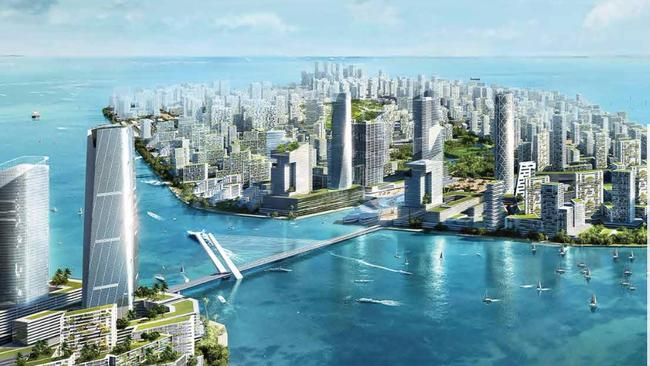 Forest City will consist of four man-made islands in the strait separating Singapore and Malaysia.