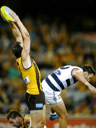 Jimmy Bartel won a free kick for this incident. Picture: Wayne Ludbey