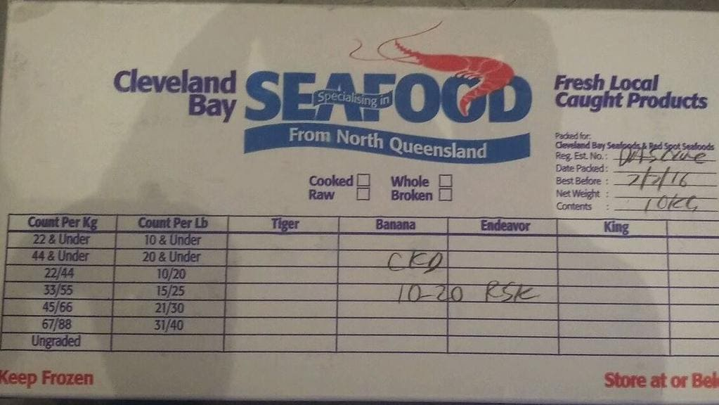 The box of seafood that was stolen from a Queensland restaurant.