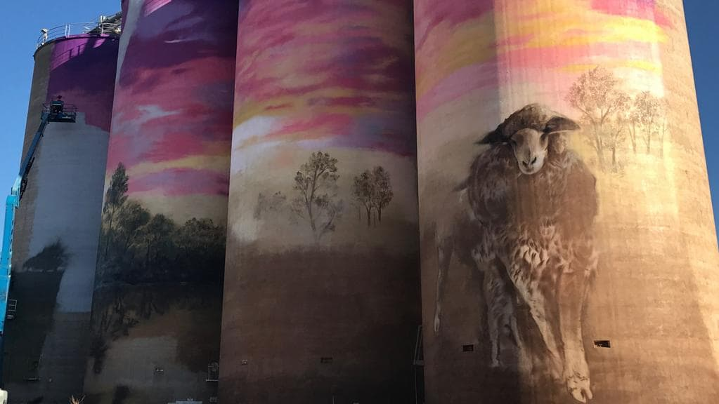 It's taken three weeks for two artists to paint the silos at Thallon. Picture: GrainCorp/Chantel Renae Photography.