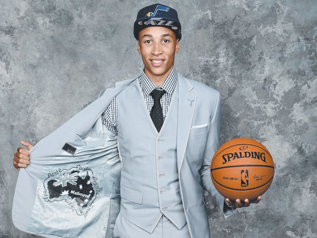Dante Exum poses with his custom jacket after being selected by the Utah Jazz in the NBA Draft.