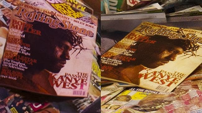 Kanye West's face can be seen on two separate magazines within the photo. Picture: Supplied