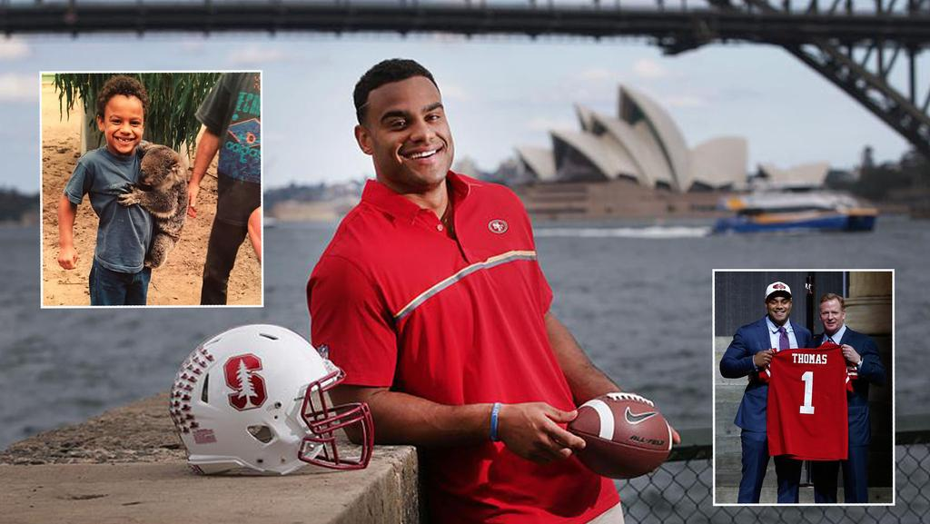 49ers rookie Solomon Thomas has come a long way from his time growing up in Sydney.