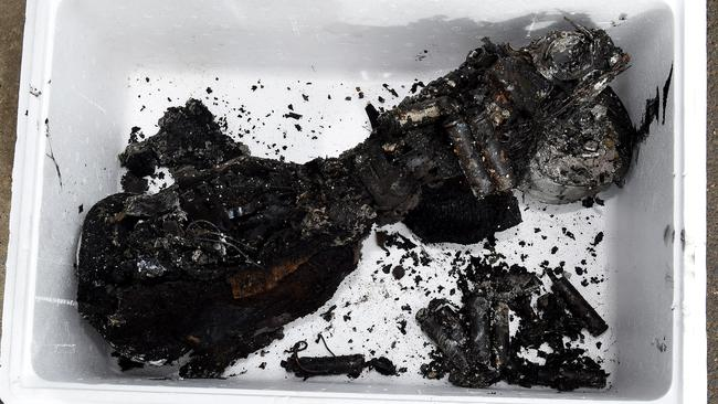 Disastrous ... the charred remains of a hoverboard that sparked a house fire in the Melbourne suburb of Strathmore. Picture: Nicole Garmston