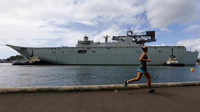 The Royal Australian Navy's newest ship, 'Nuship Canberra' is a real head-turner. Picture: Bradley Hunter