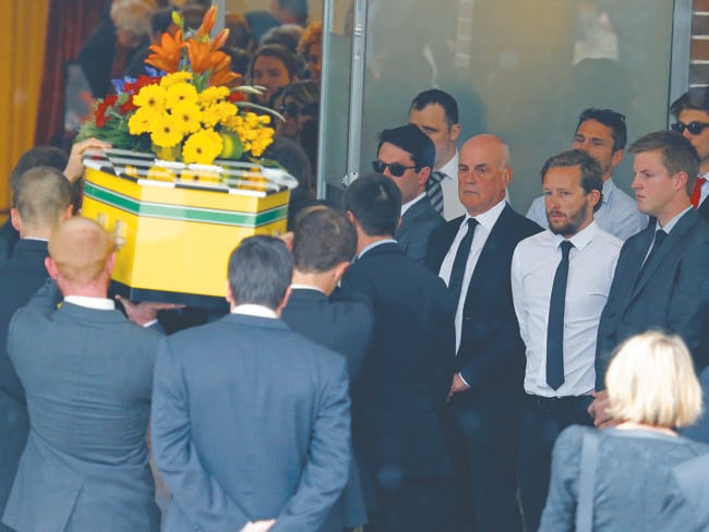 Morgan Huxley's funeral at Macquarie Park Crematorium / Picture: Bradley Hunter