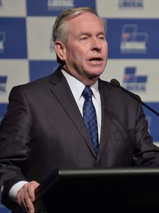 Colin Barnett unveiled the latest rail link plans today. Photo: Alf Sorbello