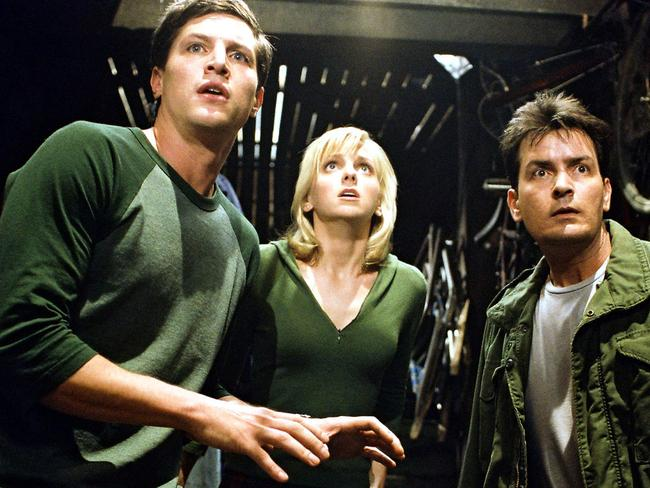 Simon Rex, left, Anna Faris and Charlie Sheen in scene from 2003 film Scary Movie 3. Picture: Supplied