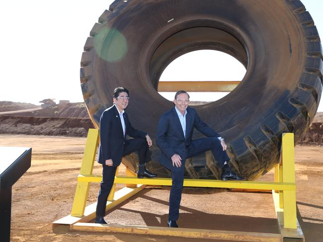 That embarrassing post ... Prime Minister Tony Abbott and the Japanese Prime Minister Shinzo Abe with our gift from Australia — RM Williams boots. Picture: Gary Ramage